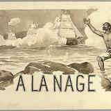 « À la nage ». Illustration (vignette) pour La Légende d'un peuple, poème épique de Louis Fréchette