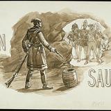 « Jean Sauriol ». Illustration (vignette) pour La Légende d'un peuple, poème épique de Louis Fréchette