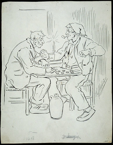 « Joachim Crête était un joueur de dames ». Illustration pour Le Loup-garou, conte de Louis Fréchette