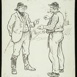 « Le Portage de la Cuisse?... Je connais ça comme ma blague ». Illustration pour Le Diable des forges, conte de Louis Fréchette
