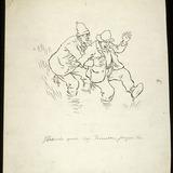 « Nous v'lons tous les deux dans la vase jusqu'aux genoux ». Illustration pour Coq Pomerleau, conte de Louis Fréchette