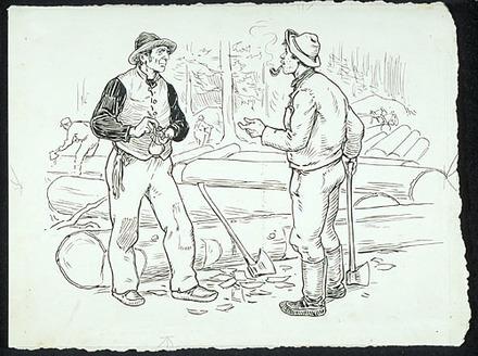 « Il était jongleux, moé étout, enfin on s'accordait comme une paire de vieux amis ». Illustration pour La Hère, conte de Louis Fréchette