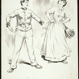 « Marianne (à Nicolas) : Te voilà joliment arnaché! ». Illustration pour Les Faux brillants, pièce de théâtre de Félix-Gabriel Marchand.