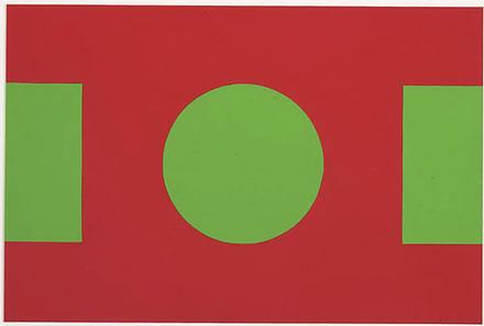 Collage en rouge et vert (cercle flottant)