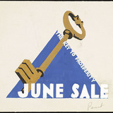 « June Sale », proposition pour une décoration de vitrine du magasin Henry Morgan