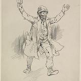 « Des lettres? Oui, oui, oui! Criait le bon diable tout essouflés ». Illustration pour Chouinard, conte de Louis Fréchette
