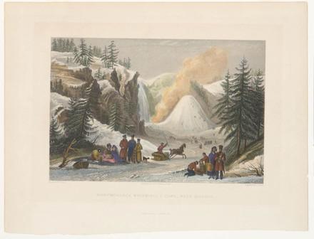 Le Cône de glace de la chute Montmorency, extrait du livre illustré The People's Gallery of Engravings de George Newenham Wright