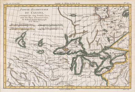 Partie occidentale du Canada contenant les cinq grands lacs, avec les pays circonvoisins, extrait de l'Atlas de toutes les parties connues du globe terrestre de Rigobert Bonne