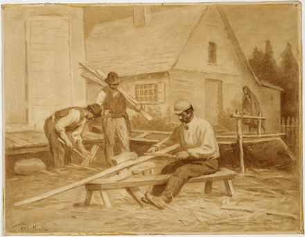 Indiens hurons fabriquant un canot