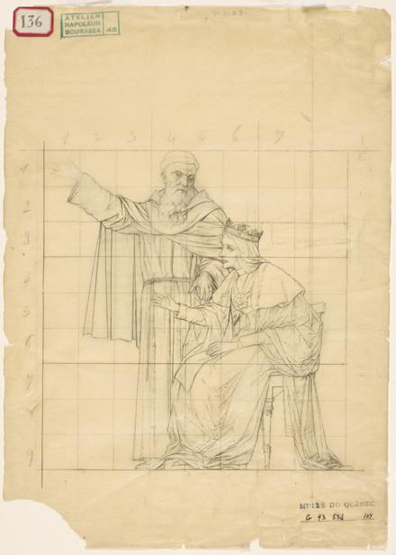 Isabelle 1re, reine de Castille et le père Juan Perez de Marchena. Étude mise au carreau pour « L'Apothéose de Christophe Colomb »