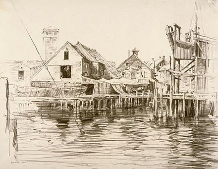 Hangars sur pilotis dans le port de Gloucester, Massachussets