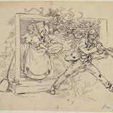 « Il faillit se faire ébouillanter par une mégère ». Illustration pour Dominique, conte de Louis Fréchette