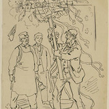 « L'étendard brandi d'un bras trop enthousiaste va s'écrabouiller au plafond ». Illustration pour Dominique, conte de Louis Fréchette