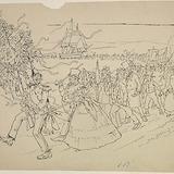 « Procession triomphale, translation de la frégate de Saint-Joseph à Saint-Romuald ». Illustration pour Dominique, conte de Louis Fréchette
