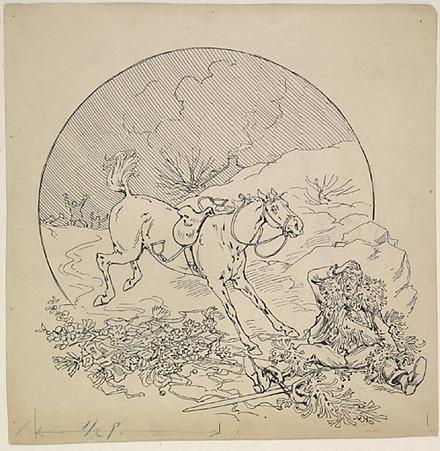 « Dominique roula à la renverse sur le macadam verglassé ». Illustration pour Dominique, conte de Louis Fréchette