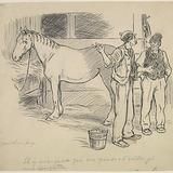 « Il y manquait que des pends-d'oreilles pi une épinglette ». Illustration pour Les Lutins, conte de Louis Fréchette