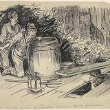« Nous v'lons partis à trembler comme deux feuilles ». Illustration pour Les Lutins, conte de Louis Fréchette
