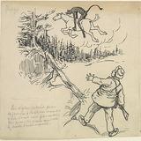 « Pain-d'épices, nous jure sus sa grande conscience qu'il l'avait vue filer au loin par dessus les arbres comme si le diable l'avait emportée ». Illustration pour Les Lutins, conte de Louis Fréchette