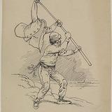 « Le capitaine Mormon aperçut Chouinard qui faisait des signaux avec une tunique rouge ». Illustration pour Chouinard, conte de Louis Fréchette