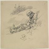 « Chouinard fut trouvé un matin, gelé à mort sur les côtes de Matane ». Illustration pour Chouinard, conte de Louis Fréchette