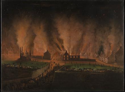 L'Incendie du quartier Saint-Jean à Québec, vu vers l'ouest