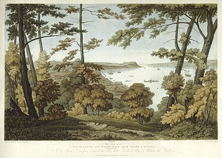 Le Cap Diamant et l'anse au Foulon vus de la pointe à Puiseaux, Sillery