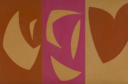Triptyque ocre-violet-rouge