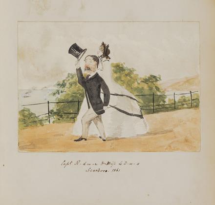« Captain R-dm-n & Miss L-D-W-S, Scarborough », de l'album du capitaine Frederick Stevenson