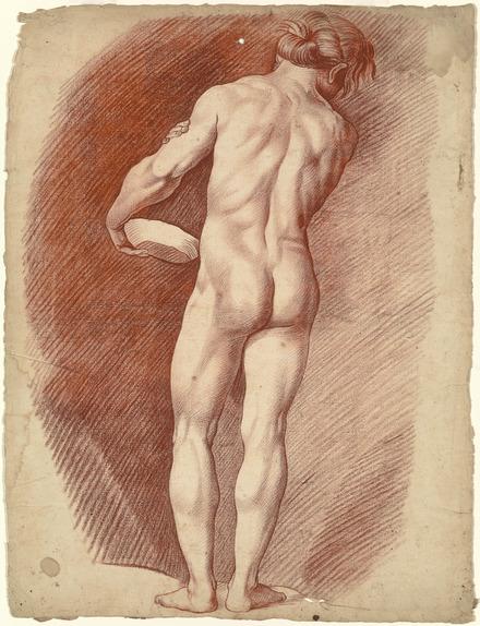 Académie d'homme debout, vu de dos, portant une assiette appuyée contre sa hanche gauche