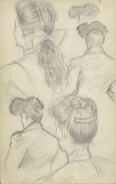 Études de coiffures et de chapeaux féminins