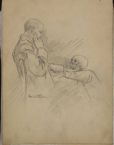 « Méditation » (portrait d'Édouard Gariépy tenant un crâne)