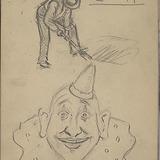 « Étude rapide » d'un clown et d'un homme pelletant