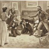« À genoux, misérables! ». Illustration pour Les Faux brillants, pièce de théâtre de Félix-Gabriel Marchand