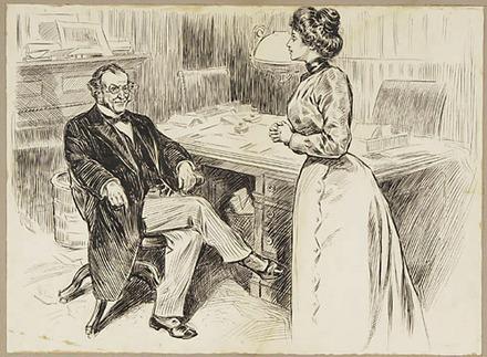 « Elmire parle à Bonval, son père ». Illustration pour « Erreur n'est pas compte », pièce de théâtre de Félix-Gabriel Marchand
