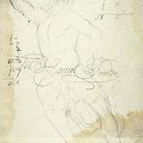 Étude de la figure du père du Laocoon avec notes de calcul et signature de l'artiste