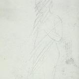 Esquisse raturée d'un nu féminin portant la main gauche à sa poitrine
