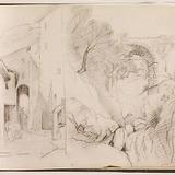 Ville de montagne (Olevano Romano?) et aqueduc