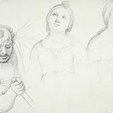 Figures d'un bourreau, de sainte Cécile et d'une Vierge de l'Annonciation