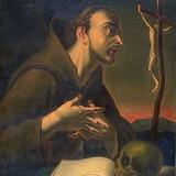 Saint François d'Assise en prière devant un crucifix