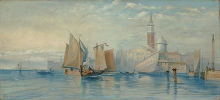 Embarcations sur la lagune de Venise devant la basilique et le campanile San Giorgio Maggiore